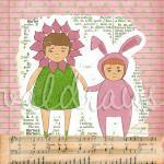 Children's art print Two gi..