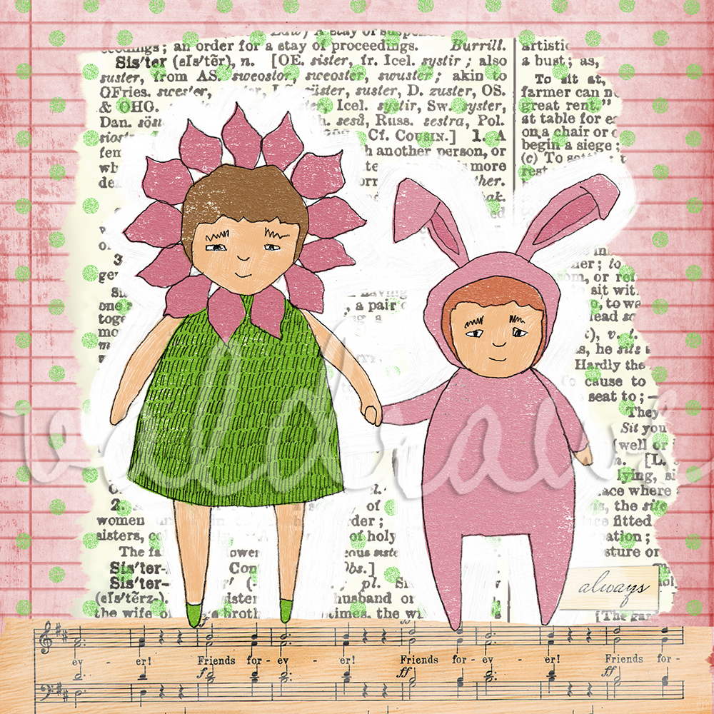 Children's art print Sisters art print Two girls holding hands Sisters 6 x 6 print