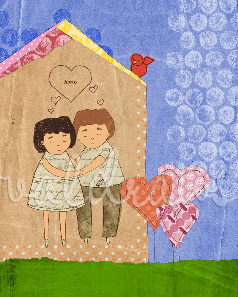Man and woman embracing in house with red bird and heart-shaped flowers Custom 8 x 10 print
