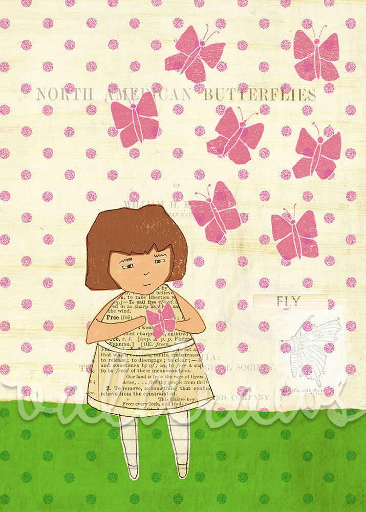 Girl holding pink butterfly on polka dot background - Butterflies 5 x 7 print