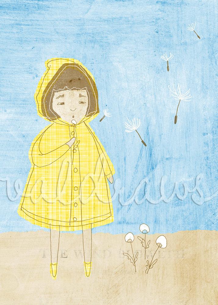 Dandelion Blowing Drawing Blowing Dandelion Print Yellow