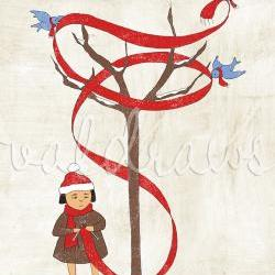 Knitting art Winter art Bluebird art Friendship art Girl knitting scarf Wrapped In The Warmth Of Friendship 8 x 10 print