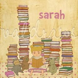 Girl reading to stuffed animals among stacks of books Wonder personalized 8 x 10 print (girl)
