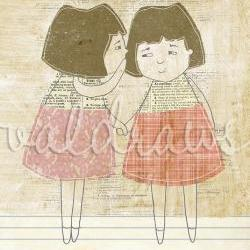 Friendship art print Secrets art print Whisper art print Two girls holding hands and whispering a secret Secrets 5x7 art print