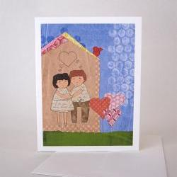 Card - blank inside - man and woman in love hugging in house surrounded by garden with bird