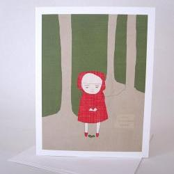 Recycled paper blank greeting card Blank note card with envelope Girl in red hood watching small plant grow in the woods Have Faith
